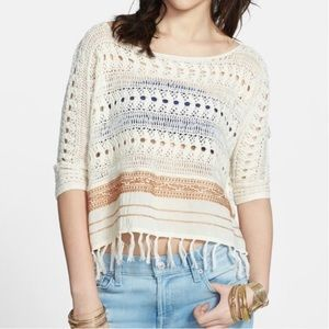 Free People Crochet and Frayed Crop Top ✨